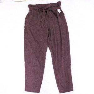 NWT Reitmans burgundy high-waist paperbag pants b7